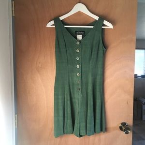 Vintage 90s Army Green Romper with Button-up Front